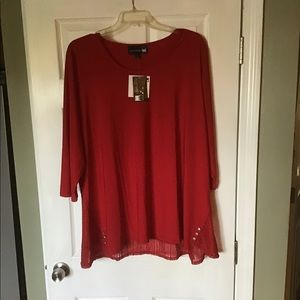New 3X Red Liquid Knit Tunic Top from Anthony